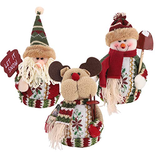 3 Pieces Christmas Sitting Ornament, Plush Santa Claus Snowman Reindeer Toy Doll for Christmas Table Desk Fireplace Table Decoration for Home Festival Party Decoration Supply
