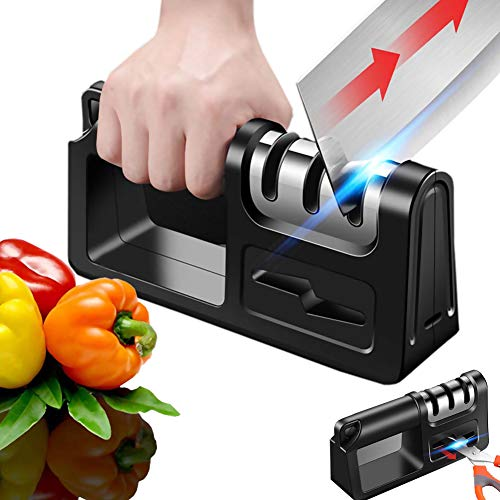 Knife Sharpener, Chef Manual Knife Sharpener, Easy Sharpening, Slip Resistant Grip Sharpener for Knives and Scissors, Safely Sharpen Knives for Kitchen (4-in-1)