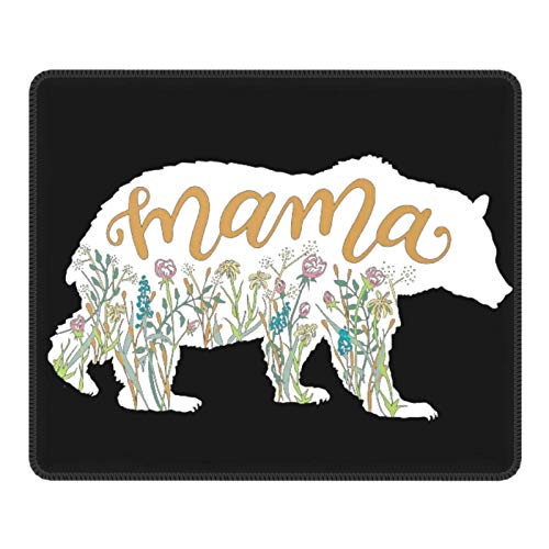 Cute Mouse Pads Rubber Rectangle Gaming Mouse Pad Customs Mouse Mat with Design Sayings Mouse Pad for Laptop Computer Office Decor-Bear Mama(7x8.6 in)