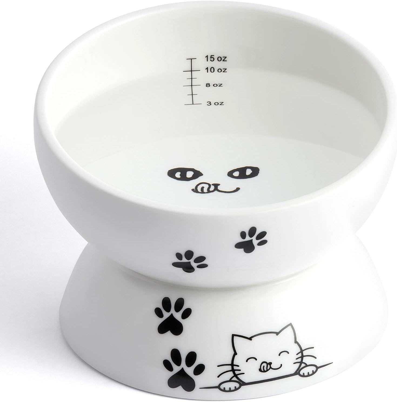 ESTSOL Ceramic Raised Cat Food Bowl, 15oz Slanted Elevated Cat Water Bowl, Tilt Angle Protect Cat's Spine, Anti-Vomiting Cat Dish, Stress Free, Backflow Prevention, Dishwasher Safe