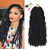 8 Packs Faux Locs Crochet Hair for Black Women, 18 Inch Natural Black Upgrade Pre Looped Goddess Locs Crochet Hair, Nu Soft Locs Synthetic Braiding Hair Extensions (18inch 8packs 1B#)