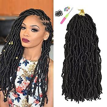 8 Packs Faux Locs Crochet Hair for Black Women 18 Inch Natural Black Upgrade Pre Looped Goddess Locs Crochet Hair Nu Soft Locs Synthetic Braiding Hair Extensions  18inch 8packs 1B#