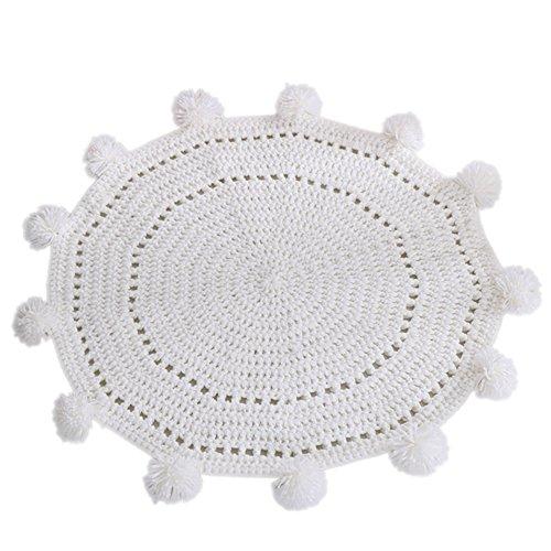 Livecity Handgefertigter gewebter Strickteppich für Babys, Kinder, Spielmatte für Kinderzimmer, Heimdekoration, Kaschmir-Imitat, weiß, Large