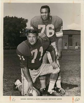"""Alex Karras & Roger Brown (Detroit Lions - Defensive Tackle) 8"""" X 10"""" Vintage Original Photo"""