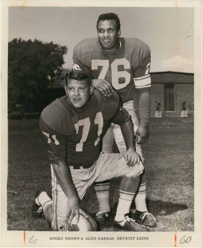 "Alex Karras & Roger Brown (Detroit Lions - Defensive Tackle) 8"" X 10"" Vintage Original Photo"