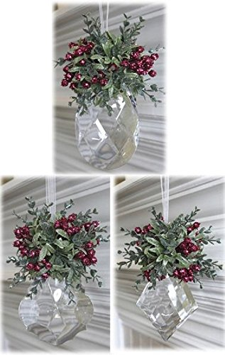 Ganz 8.5' Hanging Ornament - Mistletoe with Jewel (Cranpink - Marquis)