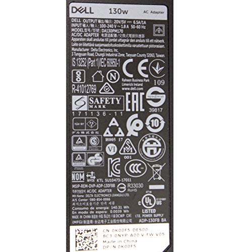 Dell Wikiparts HA130PM170 Original USB-C-Ladegerät für XPS 15 9575, Precision 5530 Laptop Ladegerät mit UK-Netzkabel, 20 V, 6,5 A, 130 W