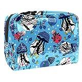 Bolsa de Maquillaje Medusas Marinas bajo el Agua Bolsa de Almacenamiento de Maquillaje Bolsa de Viaje Maquillaje Cosmético Bolsa Multifuncional para Viajes y Viajes de Negocios 18.5x7.5x13cm