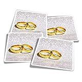 Pegatinas de vinilo (juego de 4) 10 cm – Anillos de boda dorados para prometida esposa calcomanías divertidas para ordenadores portátiles, tabletas, equipaje, reserva de chatarra, frigoríficos #8676