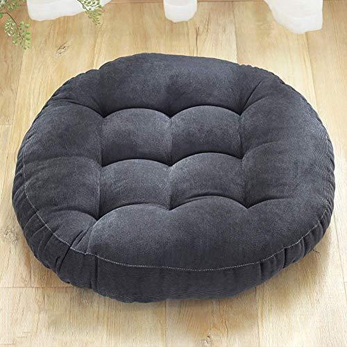 XHNXHN Cojines redondos de color sólido, pana para silla de comedor, alfombrilla de piso Tatami espesar para interiores y exteriores, transpirable, asiento de cushion-grayA 42 x 42 x 6 cm