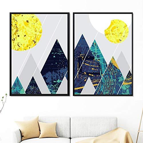 oioiu Abstracto geométrico montaña Sol Graffiti Arte de la Pared Lienzo Pintura Carteles nórdicos e Impresiones decoración de la Sala de Estar Pintura de Pared sin Marco
