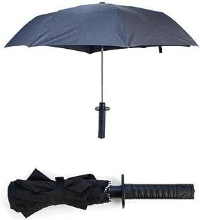 ReaYouth Samurai Katana Sword Dagger Shape Umbrella Creative Auto Open & Close Long-Handle Black Rain Sun Folding Knife Um...