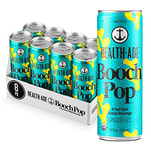Health-Ade Booch Pop, Ginger Fizz, Healthy Soda for Gut Health, Made with Kombucha, Calcium, and Magnesium, 8 Pack Case (12 Fl Oz Cans)