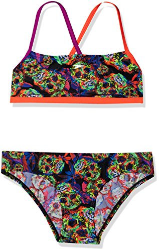Speedo Psychedelic Fusion Crossback, Bikini para Mujer, Multicolor (Black/Siren/Diva), 30