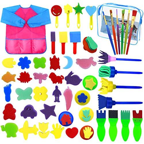 Dokpav 52PCS Niños Esponja Pintura Cepillos Kit, Herramientas de Dibujo para Niños, Cepillos de Pintura de Esponja, Delantal de Pintura, Esponja de Cepillos de Pintura Set para Arte Artesanía DIY