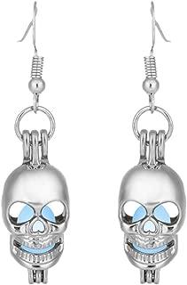 A Pair of Hollow-out Skeleton Shape Luminous Earrings Glow in Dark Earrings Drop Pendant for Women and Girls (Random Color)