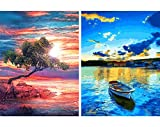 2 Pack 5D Diamond Painting Cloud Tree Sunset Lake Boat Full Drill by Number...