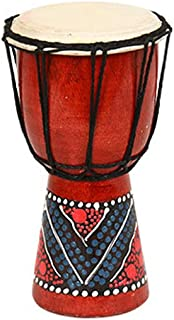 xxiaoTHAWxe Hand Painted Djembe Drum, 4/6inch Wooden goatskin Professional Materials Classic Painting West African Bongo Drum for Children Kid Toys 20cm