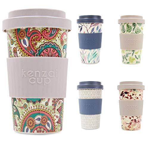 Yum Asia Kenzai Cup 400ml wiederverwendbarer Schraubverschluss Deckel Bambus Kaffeetasse (Paisley)