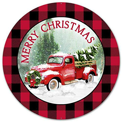 Craig Bachman 12' Merry Christmas Truck Round Plaid Tin Metal Christmas Red Farm Truck Wreath Accent Sign MD0443
