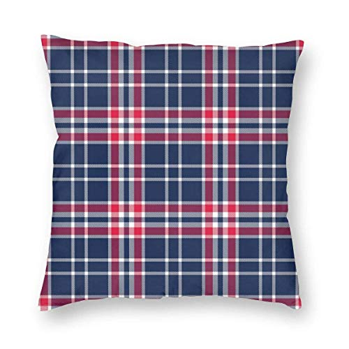 Harla Cleveland Indians Team Colors Plaid Velvet Soft Decorative Square Throw Pillow Case Cushion Cover Pillowcase for Livingroom Sofa Bedroom with Invisible Zipper 20x20 Inches