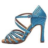 HROYL Zapatos de Baile Latino Mujer Salsa y Bachata Zapatos de Baile de Salon,YCL419-8.5-428,Azul Claro,38EU