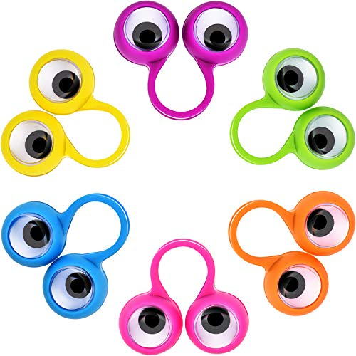 Jovitec 72 Pieces Eyes Finger Puppet Eyeballs Ring Toy Googly Eyeball Ring for Kids Party Toy, 6 Colors
