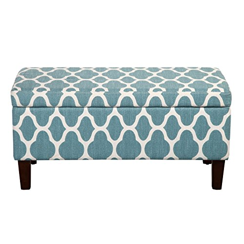HomePop Large Upholstered Rectangular Storage Ottoman Bench with Hinged Lid, Teal Blue Geometric
