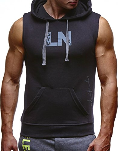 Leif Nelson Gym Herren Fitness T-Shirt Weste Trainingsshirt LN06260; Größe XL, Schwarz-Anthrazit