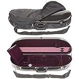 Bobelock 1047FV Black Fiberglass 4/4 Violin Case with Wine Velvet Interior and Protective Bag