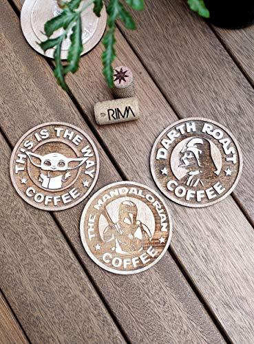Set di 3 Sottobicchiere Star Wars Coffee - The Mandalorian Coaster - Legno