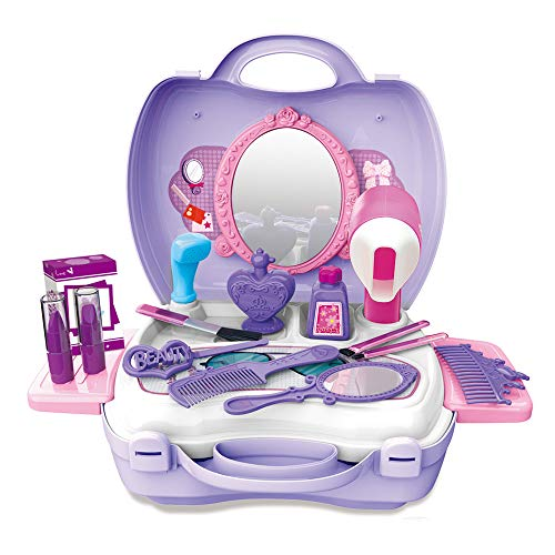 WenToyce Girls Pretend Hair Salon Kit, Hair Styling Cosmetic Case, 21 Pcs Dress-up Beauty Set with Mirror for Toddler Kids