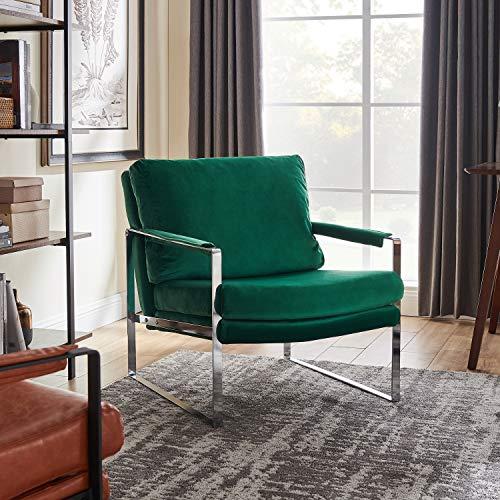 Art Leon Mid Century Modern Velvet Upholstered Accent Chair with Chrome Metal Frame Lounge Chair for Living Room Bedroom, Teal