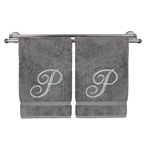 Monogrammed Hand Towel, Personalized Gift, 16 x 30 Inches - Set of 2 - Silver Embroidered Towel - Extra Absorbent 100% Turkish Cotton- Soft Terry Finish - for Bathroom, Kitchen and Spa- Script P Gray Louisiana