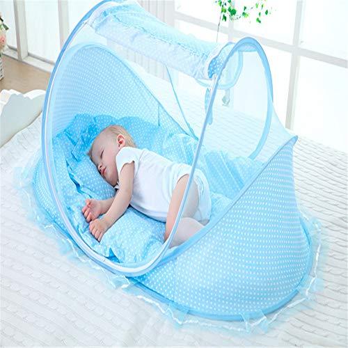 GONG Tragbares Baby-Reisebett, Faltbares Kinderbett Im Freien, Mit Moskitonetz, Mit Matratze, Geeignet Für 0-3 Jahre,Blau