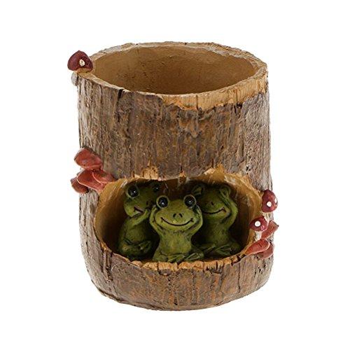OULII Pot de fleurs en forme de grenouille verte pour plantes succulentes, bonsaï, décoration pour bureau, maison, jardin