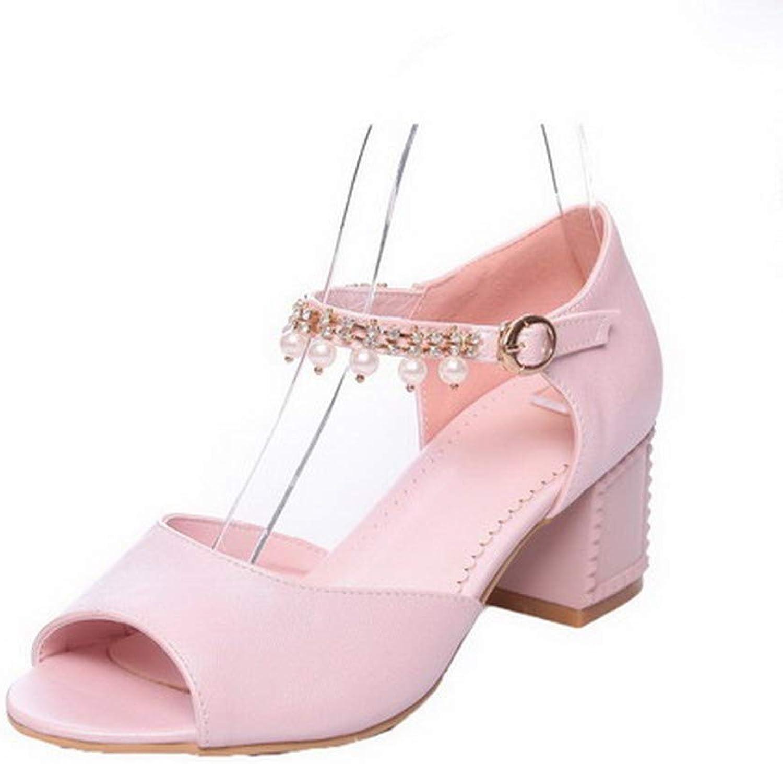 WeiPoot Women's Open-Toe Kitten-Heels Pu Solid Buckle Sandals, EGHLH007985