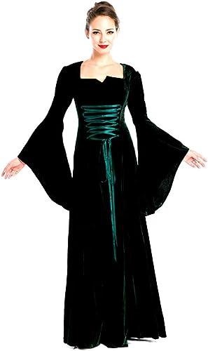 TINGSHOP Costume De DéguiseHommest Vert Foncé Médiéval Renaissance Costume Victorien Reine Femmes Vintage V-Neck Manches évasées Costume De DéguiseHommest