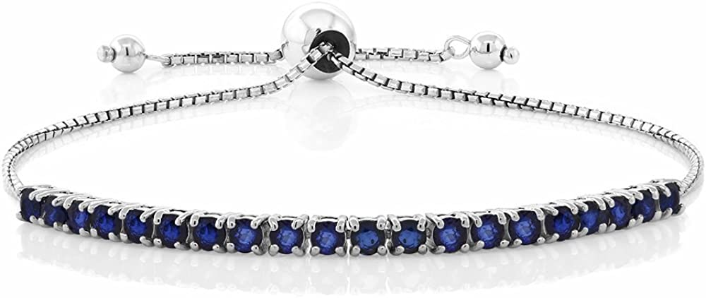 Gem Stone King Max 68% OFF 925 Sterling Directly managed store Sapphire Tennis Silver Bracelet Blue