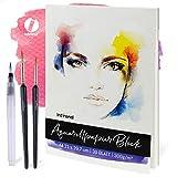 INT!REND Bloc papel de dibujo | Cuaderno para acuarelas, 30 hojas, 300 g, DIN A4, 3 pinceles | Watercolor paper block, cuaderno lettering