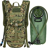 MARCHWAY Tactical Molle Hydration Pack Backpack with 3L TPU Water Bladder, Military Daypack for Cycling, Hiking, Running, Climbing, Hunting, Biking (Digital Woodland)