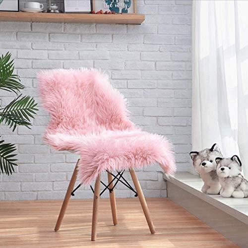 ZCZUOX Faux Schaffell Teppich, Faux Lammfell-Teppich Lang Kunstfell Schaffell Imitat Faux Bett-Vorleger Oder Matte für Stuhl Sofa for Wohnzimmer Schlafzimmer (Rosa, 60x90cm)