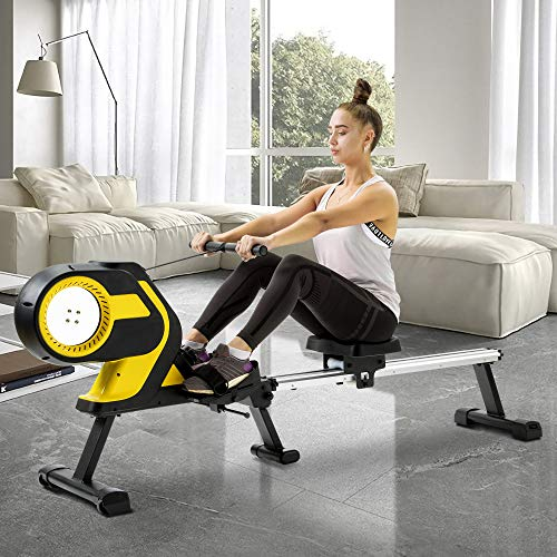 YUN JIN 46' Slide Rail Magnetic Rowing Machine,Compact Folding Rower,Exercise Bike with LCD Monitor,Workout Exercise Bike for Home Cardio Workout for Men,Women,Seniors