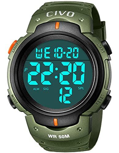 Orologio Uomo,CIVO Orologio Digitale da Uomo,Militare Sportivo da Esterno 50M Impermeabile Orologio da Polso con Retroilluminazione a LED/Timer/Allarme