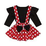 Sunnymi - Conjunto de ropa para bebé de 0 a 3 años, camiseta con volantes y falda con estampado de lunares rojo 12-18 Meses