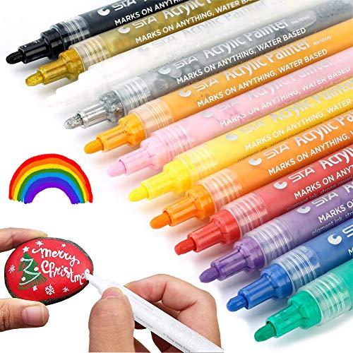 Acrylic Paint Markers Pens Set - Medium Point Tip Art Permanent Paints Pens For Rock Painting, Glass, Fabric, Photo Album, Mug Design, Metal, Wood, Ceramic, Christmas Gift DIY Craft Kids, Pack of 12