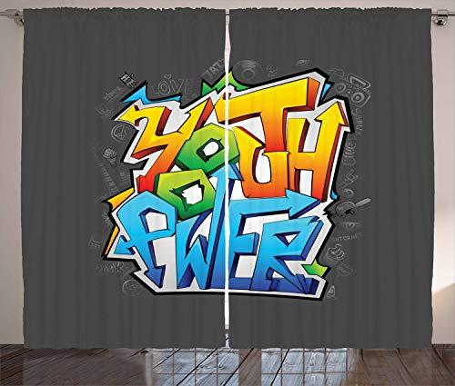 ABAKUHAUS Juventud Cortinas, Arte de la Pintada Poder Juvenil, Sala de Estar Dormitorio Cortinas Ventana Set de Dos Paños, 280 x 245 cm, Multicolor