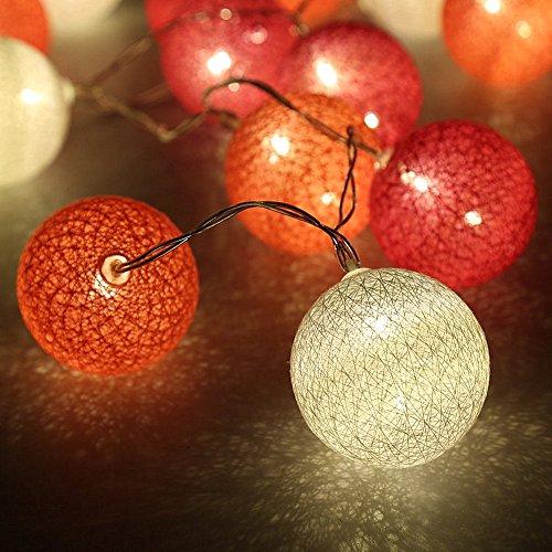 Morbuy Guirlande Lumineuse Boules, Piles Décoration Intérieur 20 LED Coton Boule Chaîne Lumièr pour Fête Noël Halloween Mariage Chambre Romantique Décor (3.3M / 20 Boule lumière, Rose Rouge Charme)