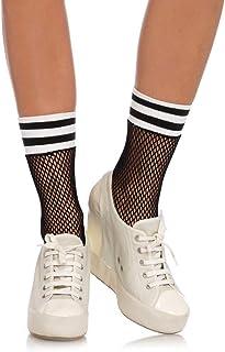 Leg Avenue Calcetines tobilleros de malla para mujer Athletic Stripe Black White Talla única