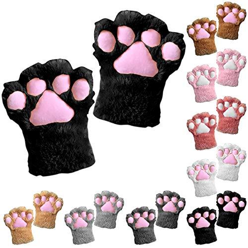 Tianhaik 1 unid mujeres niñas guantes de invierno guantes de pata de gato lindo guantes cómicos de cosplay guantes de felpa de piel sintética de clima frío cálido mitones (gris oscuro)